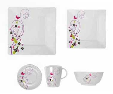 Via Mondo square dinner set 20 pieces Fantasia Flora